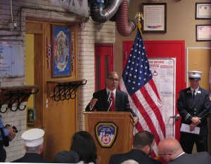 Staten Island Borough President marks the 100 anniversary of Ladder 81 in South Beach. Photo: Sam Villalobos.