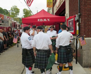 Bag pipers add to the celebration at the 100th Anniversary of Ladder 81 in South Beach.