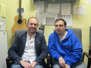 Aaron Feinstein CEO of ActionPlay (left) with Lifestyles Radio host Steven Filoramo.