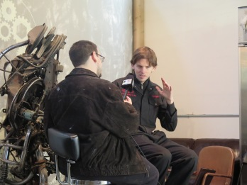Anthony DiFato (left) conducting an interview at MarkerSpace. Photo: Gregory Perosi for Life-Wire News Service.
