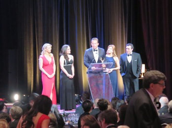 Alice Gainer, Andrea Grymes, Chris Wragge, Mary Civili, and Steve Obermeyer accepting an award for WCBS News at the NY Emmy® Awards. Photo: Meredith Arout for Life-Wire News Service.