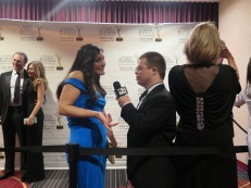 Andrea Romero, Chief Meteorologist, Telemundo 47 speaks with Eric Schwacke. Photo: Meredith Arout for Life-Wire News Service.