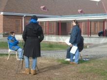 Megan Welsh and Joseph Maturi on set with Eric Schwacke. Photo: Joseph Padalino for Life-Wire News Service.