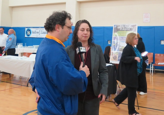 Steven Filoramo interviews Christina Tesoriero, JCC Director of Special Needs Services. Photo by Raheim Gladden for Life-Wire News Service.