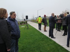 Borough President James Oddo (being interviewed) at the opening of Stapleton Waterfront Park, looking north. Photo: Anthony DiFato for Life-Wire News Service.