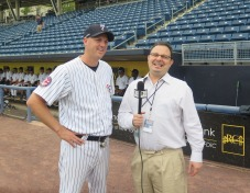 Pitching coach, Travis Phelps (left), interviewed by Steven Filoramo. Photo: Anthony Pabon for Life-Wire News Service.