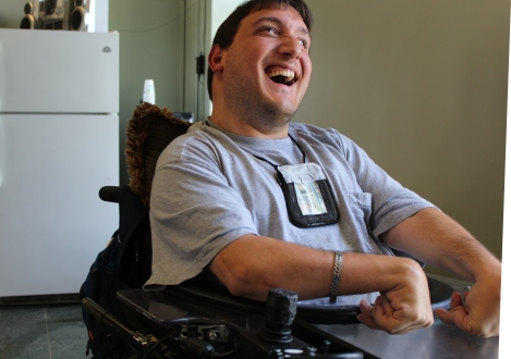 Joseph Padalino in his chair. Photo: Dolores Palermo for Life-Wire News Service.